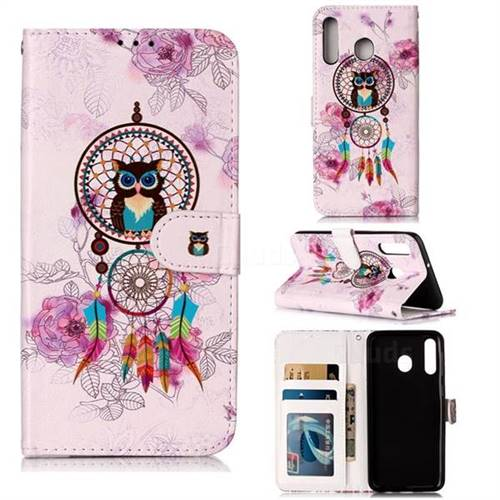 Wind Chimes Owl 3D Relief Oil PU Leather Wallet Case for Samsung Galaxy M30