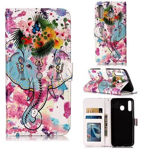 Flower Elephant 3D Relief Oil PU Leather Wallet Case for Samsung Galaxy M30