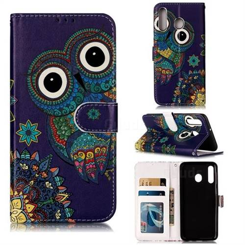 Folk Owl 3D Relief Oil PU Leather Wallet Case for Samsung Galaxy M30