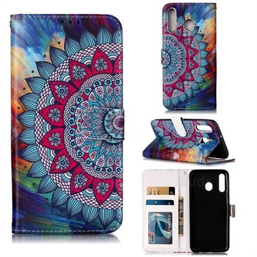 Mandala Flower 3D Relief Oil PU Leather Wallet Case for Samsung Galaxy M30