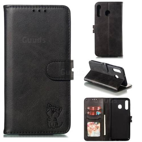 Embossing Happy Cat Leather Wallet Case for Samsung Galaxy M30 - Black