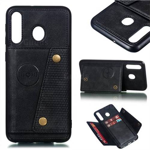 Retro Multifunction Card Slots Stand Leather Coated Phone Back Cover for Samsung Galaxy M30 - Black