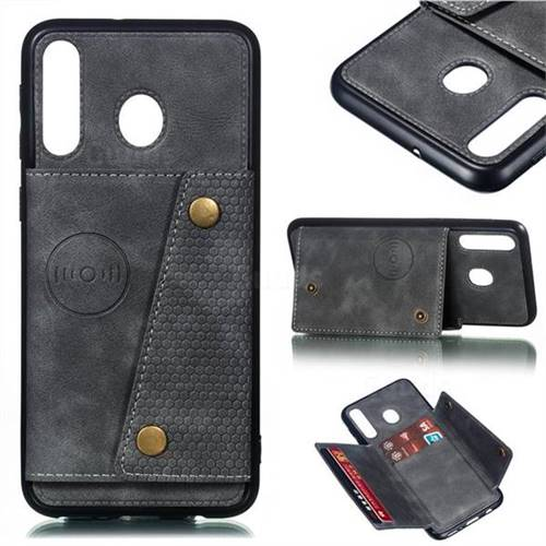 Retro Multifunction Card Slots Stand Leather Coated Phone Back Cover for Samsung Galaxy M30 - Gray