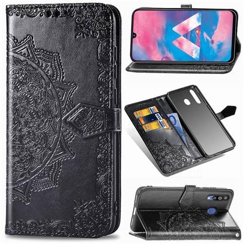 Embossing Imprint Mandala Flower Leather Wallet Case for Samsung Galaxy M30 - Black
