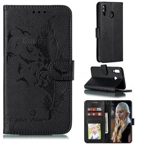 Intricate Embossing Lychee Feather Bird Leather Wallet Case for Samsung Galaxy M30 - Black