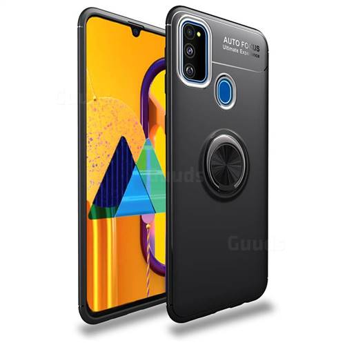 Auto Focus Invisible Ring Holder Soft Phone Case for Samsung Galaxy M30s - Black