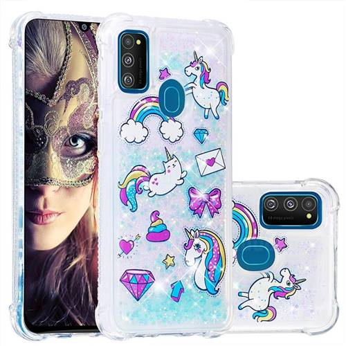 Fashion Unicorn Dynamic Liquid Glitter Sand Quicksand Star TPU Case for Samsung Galaxy M30s