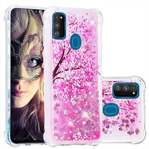 Pink Cherry Blossom Dynamic Liquid Glitter Sand Quicksand Star TPU Case for Samsung Galaxy M30s