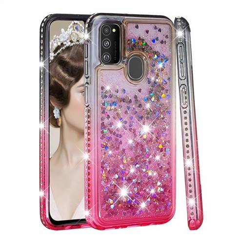 Diamond Frame Liquid Glitter Quicksand Sequins Phone Case for Samsung Galaxy M30s - Gray Pink