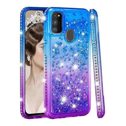 Diamond Frame Liquid Glitter Quicksand Sequins Phone Case for Samsung Galaxy M30s - Blue Purple