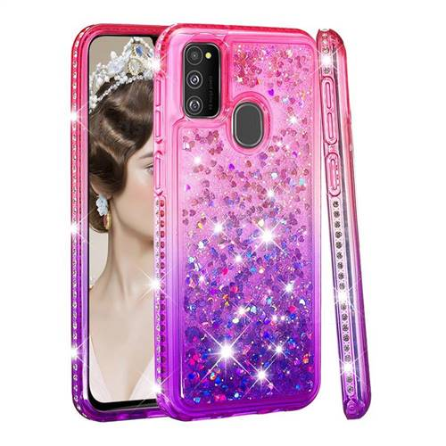 Diamond Frame Liquid Glitter Quicksand Sequins Phone Case for Samsung Galaxy M30s - Pink Purple
