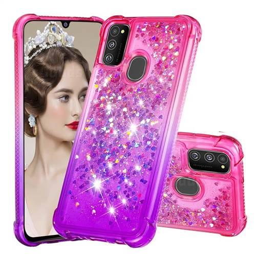 Rainbow Gradient Liquid Glitter Quicksand Sequins Phone Case for Samsung Galaxy M30s - Pink Purple