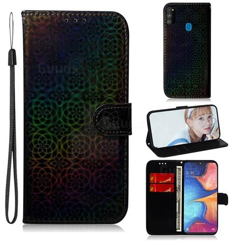 Laser Circle Shining Leather Wallet Phone Case for Samsung Galaxy M30s - Black