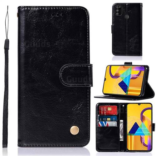 Luxury Retro Leather Wallet Case for Samsung Galaxy M30s - Black