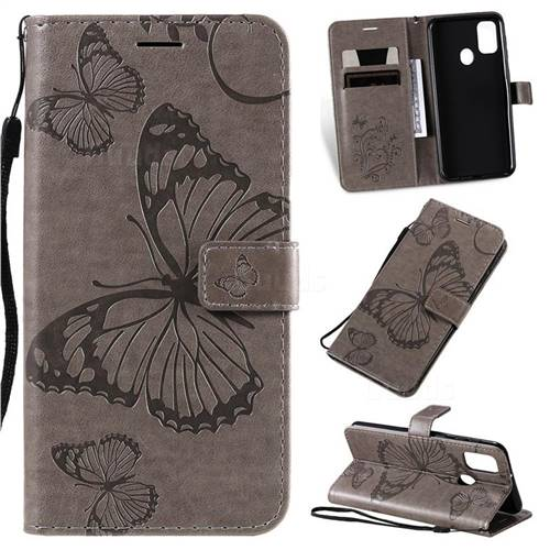 Embossing 3D Butterfly Leather Wallet Case for Samsung Galaxy M30s - Gray