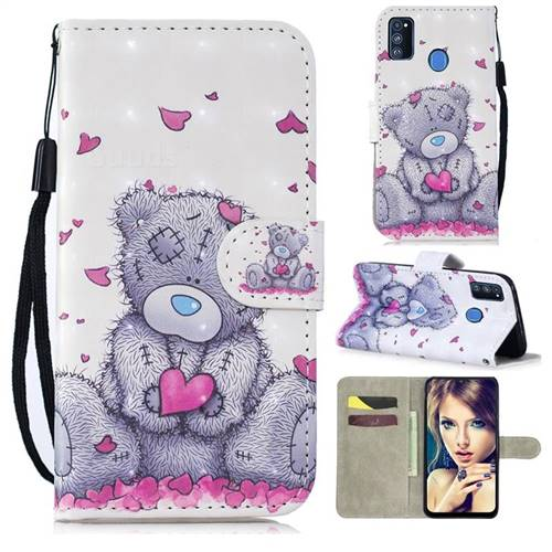 Love Panda 3D Painted Leather Wallet Phone Case for Samsung Galaxy M30s
