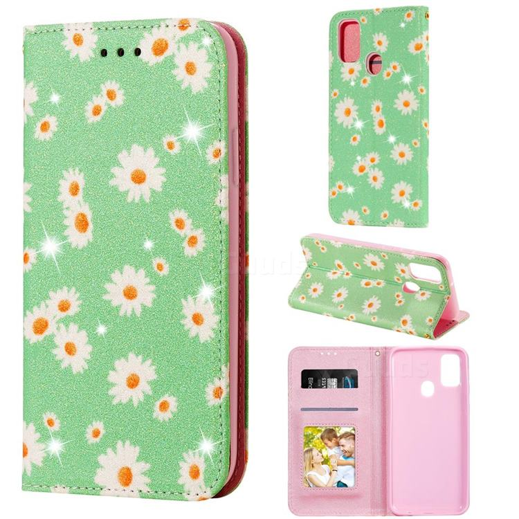 Ultra Slim Daisy Sparkle Glitter Powder Magnetic Leather Wallet Case for Samsung Galaxy M30s - Green