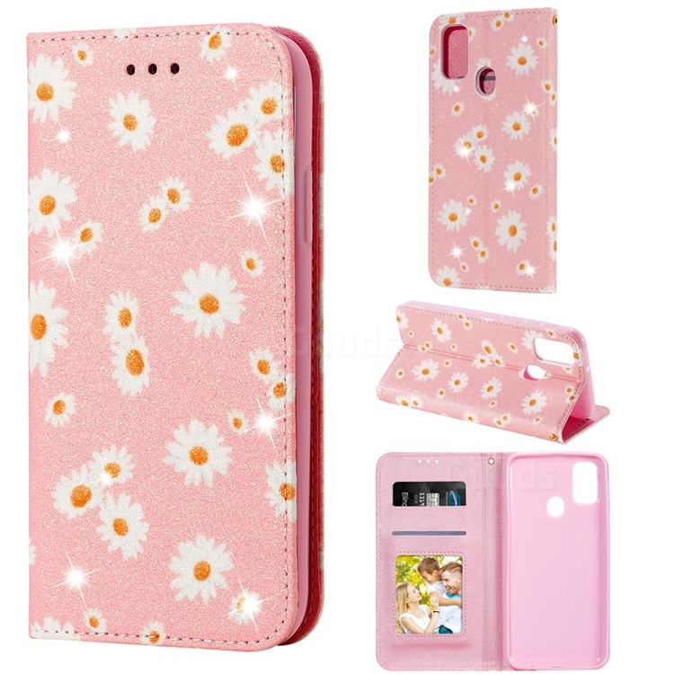 Ultra Slim Daisy Sparkle Glitter Powder Magnetic Leather Wallet Case for Samsung Galaxy M30s - Pink