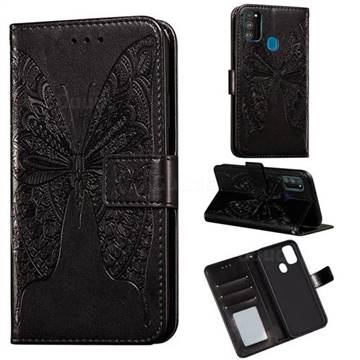 Intricate Embossing Vivid Butterfly Leather Wallet Case for Samsung Galaxy M30s - Black