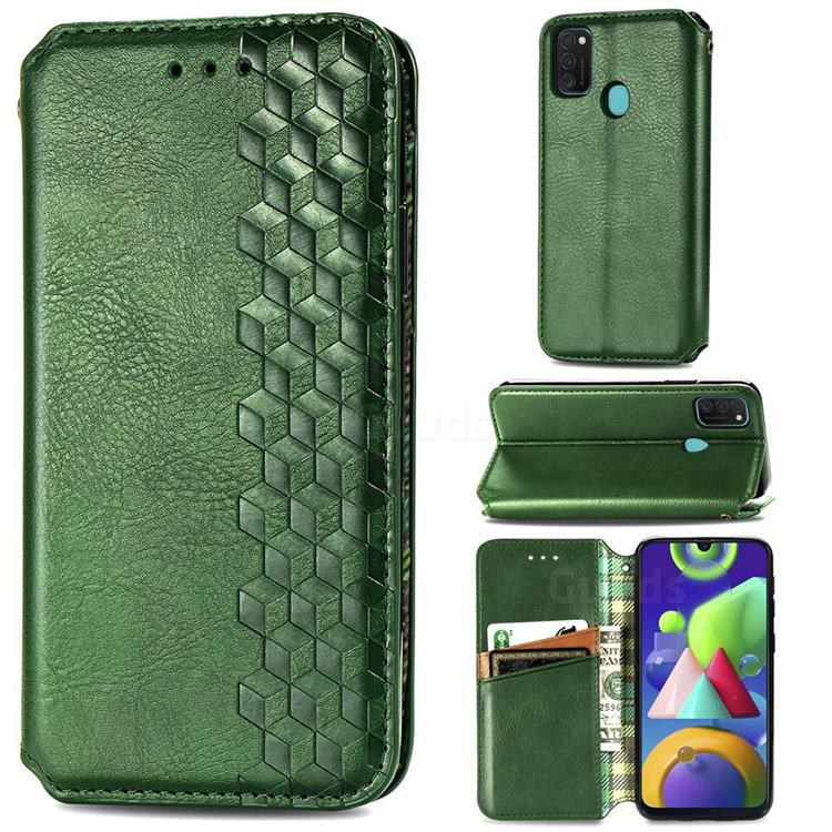 Ultra Slim Fashion Business Card Magnetic Automatic Suction Leather Flip Cover for Samsung Galaxy M30s - Green