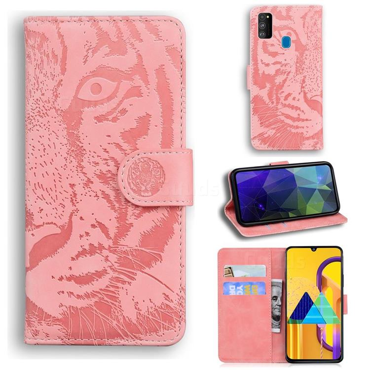 Intricate Embossing Tiger Face Leather Wallet Case for Samsung Galaxy M30s - Pink