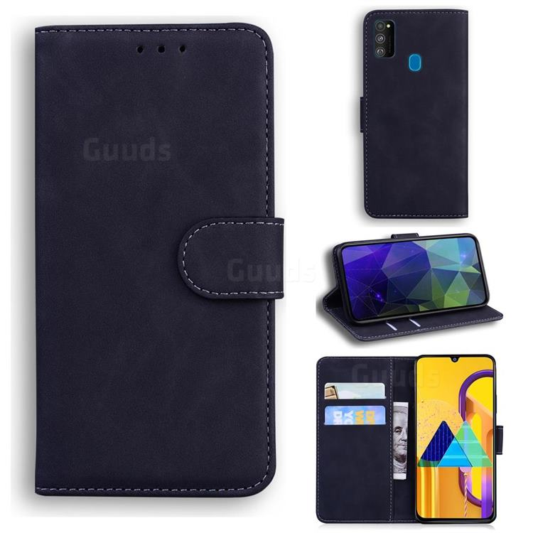 Retro Classic Skin Feel Leather Wallet Phone Case for Samsung Galaxy M30s - Black