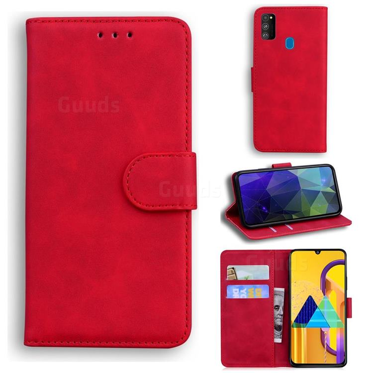 Retro Classic Skin Feel Leather Wallet Phone Case for Samsung Galaxy M30s - Red