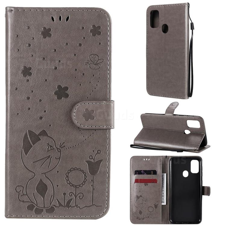 Embossing Bee and Cat Leather Wallet Case for Samsung Galaxy M30s - Gray