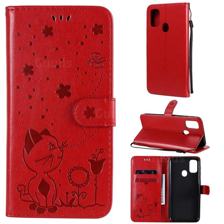 Embossing Bee and Cat Leather Wallet Case for Samsung Galaxy M30s - Red