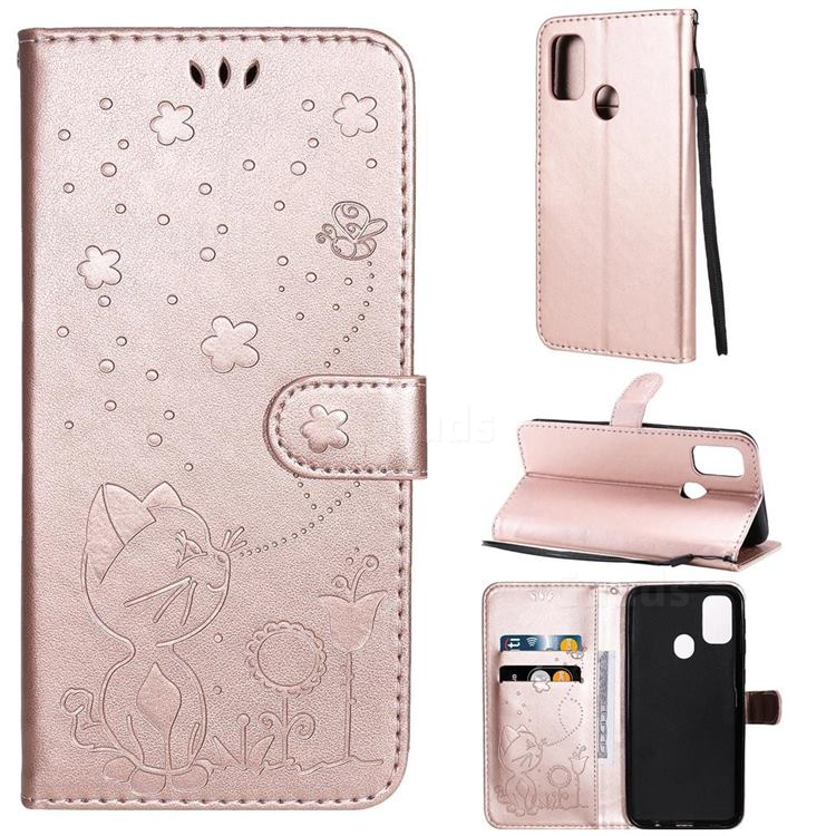 Embossing Bee and Cat Leather Wallet Case for Samsung Galaxy M30s - Rose Gold