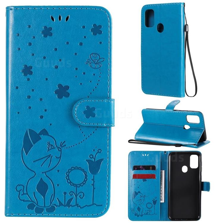 Embossing Bee and Cat Leather Wallet Case for Samsung Galaxy M30s - Blue