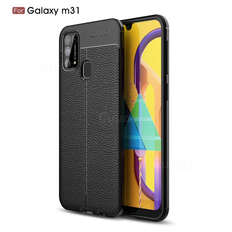 Luxury Auto Focus Litchi Texture Silicone TPU Back Cover for Samsung Galaxy M31 - Black