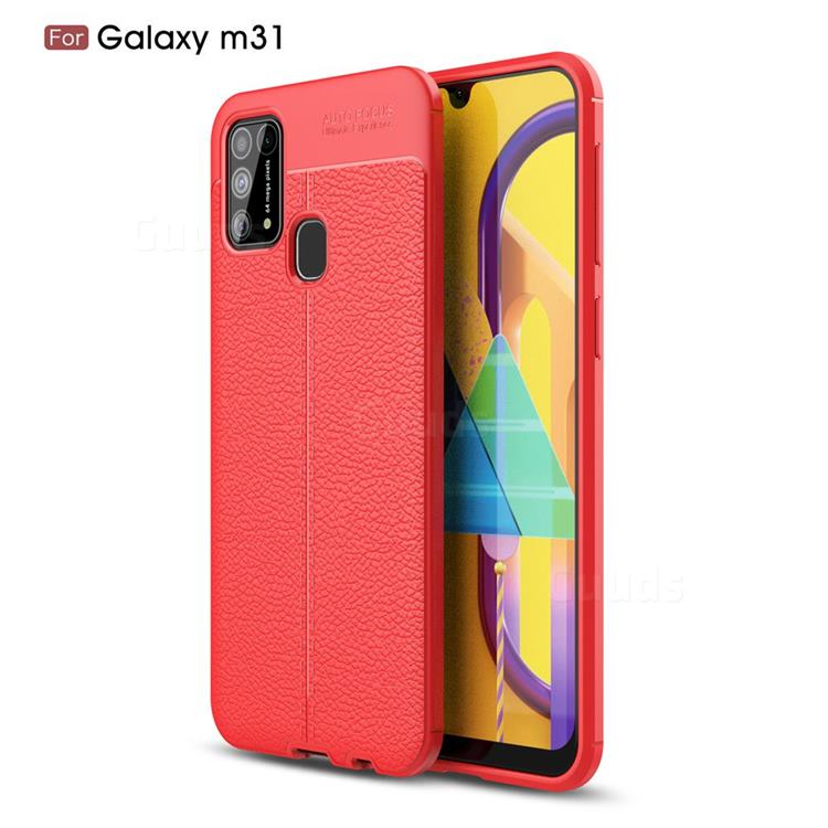 Luxury Auto Focus Litchi Texture Silicone TPU Back Cover for Samsung Galaxy M31 - Red