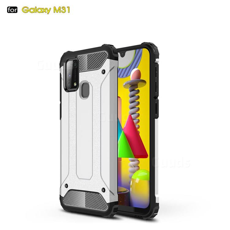 King Kong Armor Premium Shockproof Dual Layer Rugged Hard Cover for Samsung Galaxy M31 - White