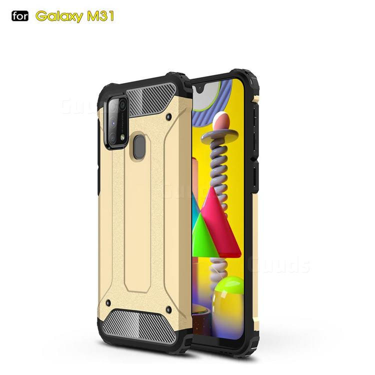 King Kong Armor Premium Shockproof Dual Layer Rugged Hard Cover for Samsung Galaxy M31 - Champagne Gold