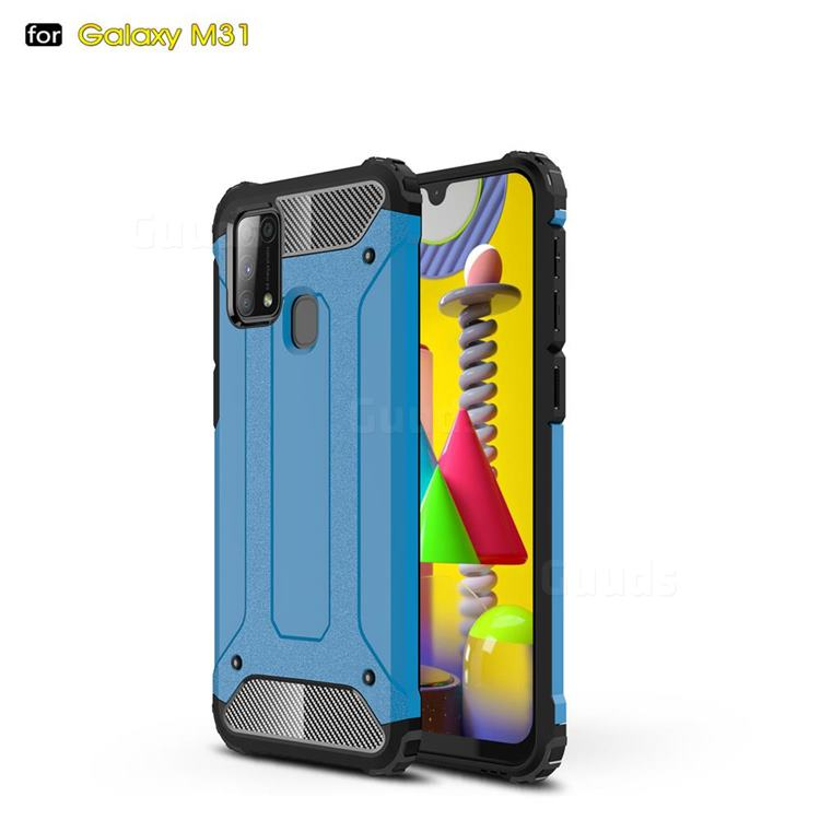 King Kong Armor Premium Shockproof Dual Layer Rugged Hard Cover for Samsung Galaxy M31 - Sky Blue