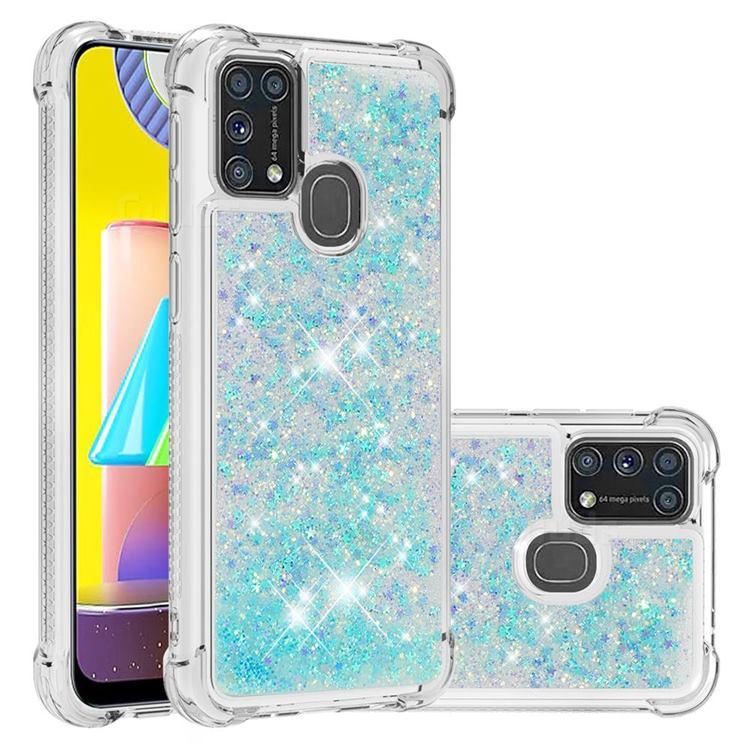 Dynamic Liquid Glitter Sand Quicksand TPU Case for Samsung Galaxy M31 - Silver Blue Star