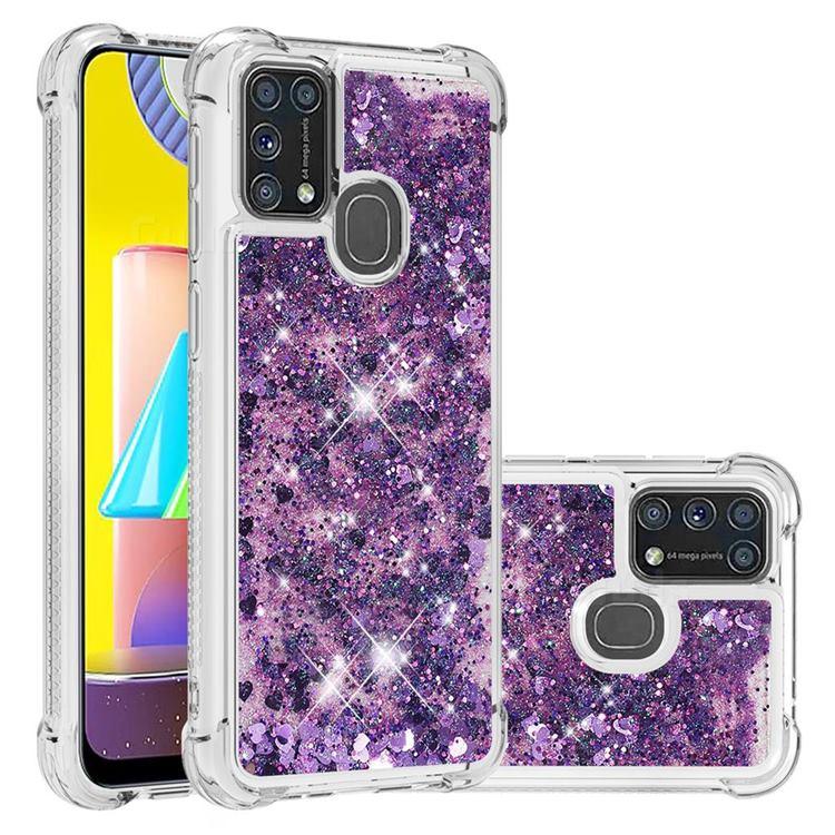 Dynamic Liquid Glitter Sand Quicksand Star TPU Case for Samsung Galaxy M31 - Purple