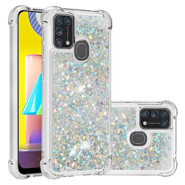 Dynamic Liquid Glitter Sand Quicksand Star TPU Case for Samsung Galaxy M31 - Silver