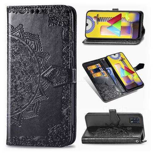 Embossing Imprint Mandala Flower Leather Wallet Case for Samsung Galaxy M31 - Black