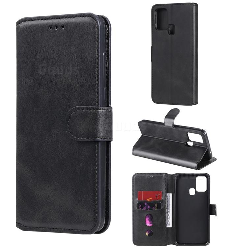 Retro Calf Matte Leather Wallet Phone Case for Samsung Galaxy M31 - Black