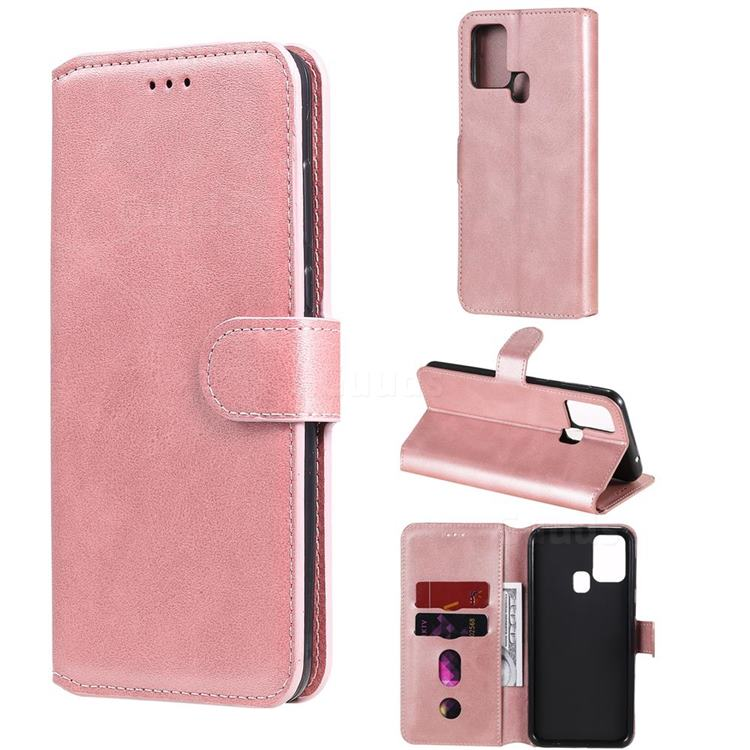 Retro Calf Matte Leather Wallet Phone Case for Samsung Galaxy M31 - Pink