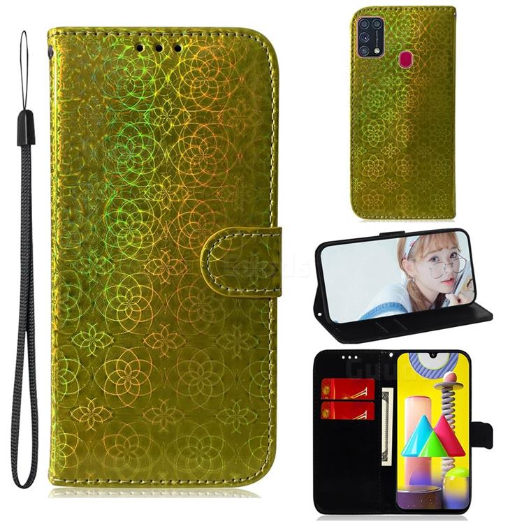 Laser Circle Shining Leather Wallet Phone Case for Samsung Galaxy M31 - Golden