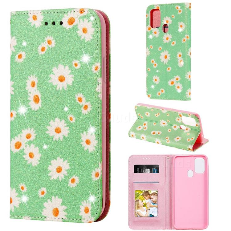 Ultra Slim Daisy Sparkle Glitter Powder Magnetic Leather Wallet Case for Samsung Galaxy M31 - Green
