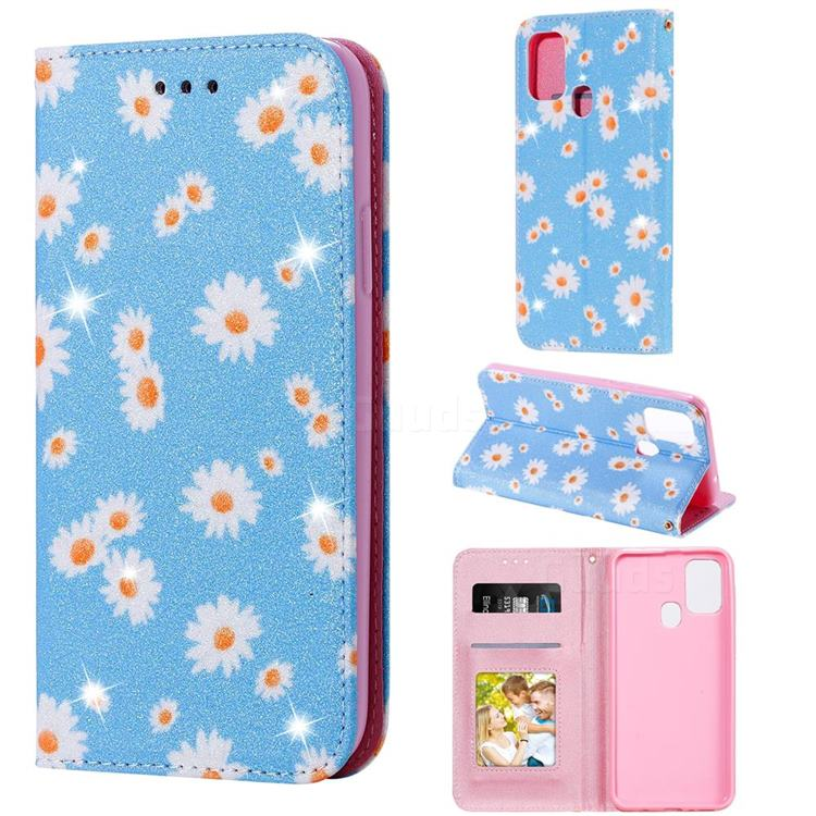 Ultra Slim Daisy Sparkle Glitter Powder Magnetic Leather Wallet Case for Samsung Galaxy M31 - Blue