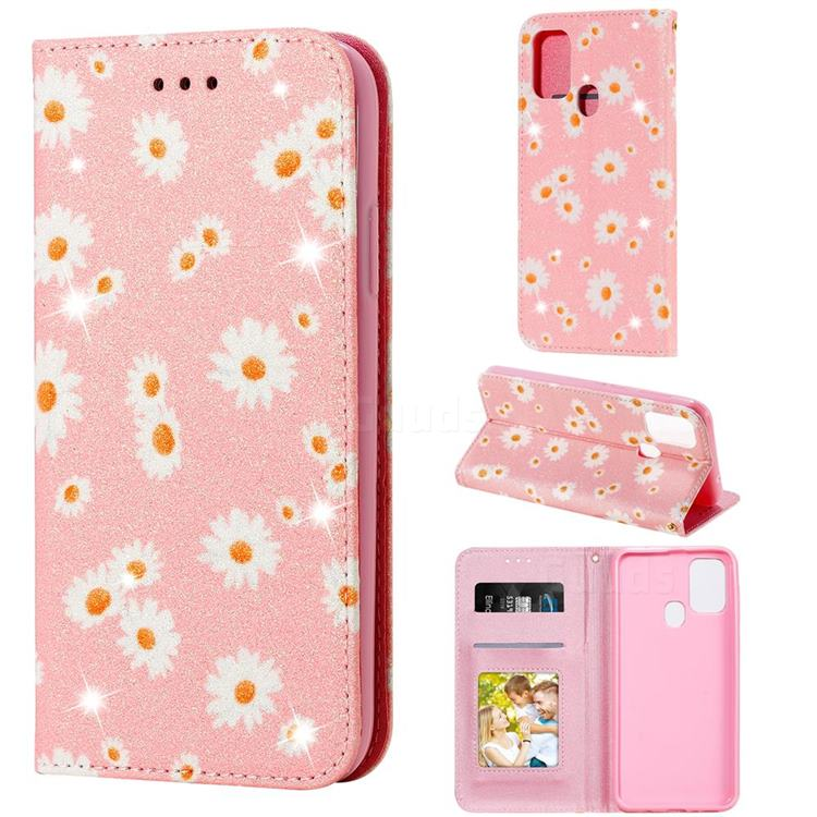 Ultra Slim Daisy Sparkle Glitter Powder Magnetic Leather Wallet Case for Samsung Galaxy M31 - Pink
