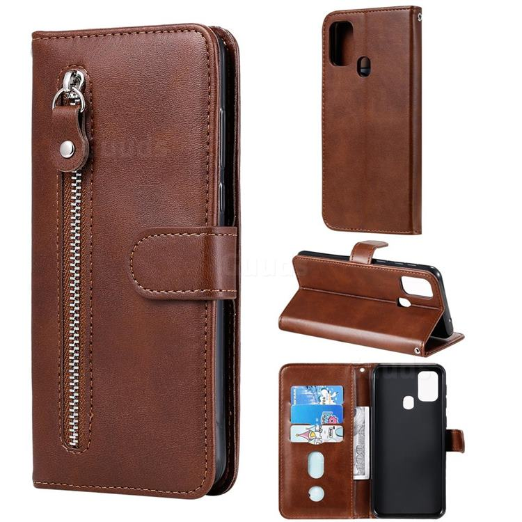 Retro Luxury Zipper Leather Phone Wallet Case for Samsung Galaxy M31 - Brown