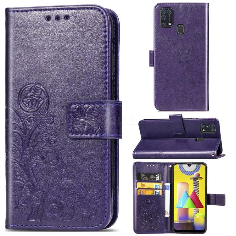Embossing Imprint Four-Leaf Clover Leather Wallet Case for Samsung Galaxy M31 - Purple