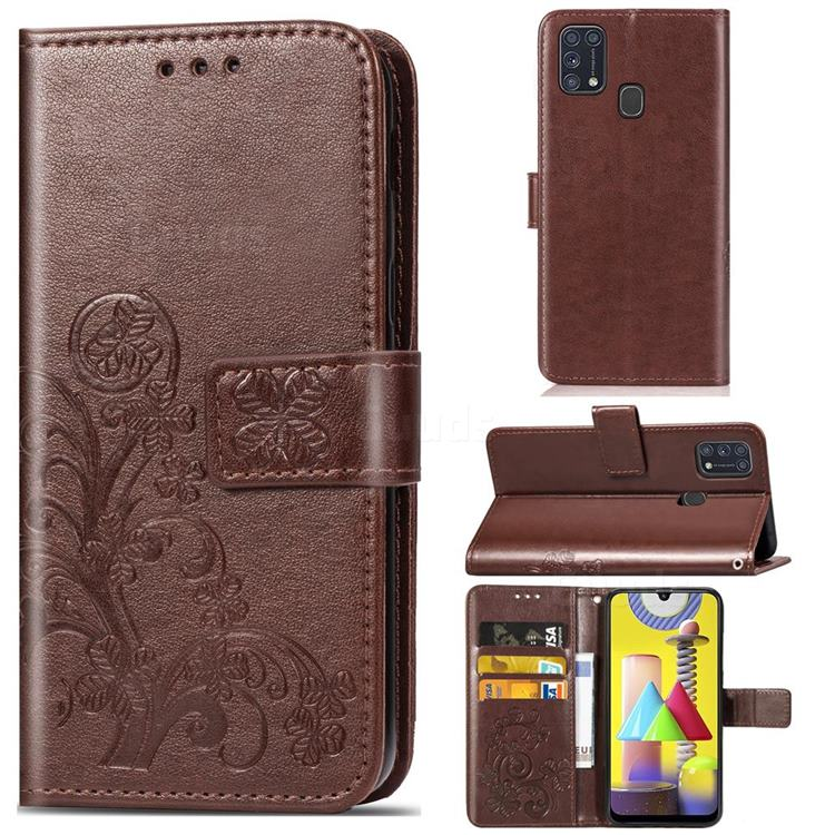 Embossing Imprint Four-Leaf Clover Leather Wallet Case for Samsung Galaxy M31 - Brown