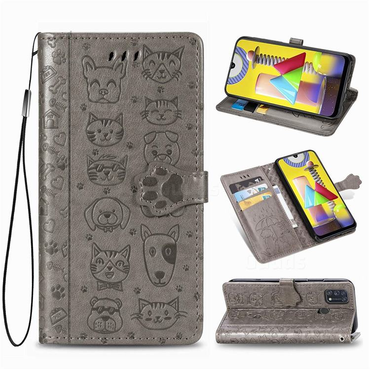 Embossing Dog Paw Kitten and Puppy Leather Wallet Case for Samsung Galaxy M31 - Gray
